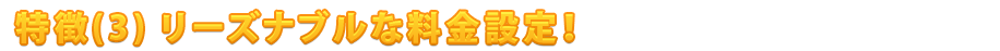 特徴(3) リーズナブルな料金設定!